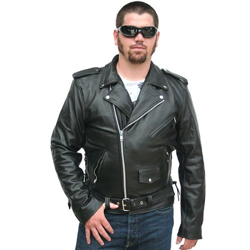Amazon.com: Motorcycle Jackets - Classic Biker Leather Jacket 38 ...