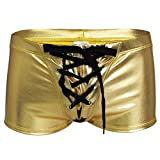 iEFiEL Mens Gloss Disco Hotpants Drawstring Boxer Briefs Shorts Gold M
