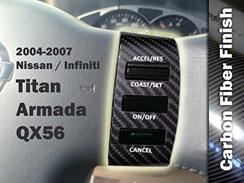 Steering Wheel Control Button Restoration Vinyl Wrap for Nissan Titan / Armada (Color: Carbon Fiber | Size: 2004-2007 with Audio Controls + Cruise Control) by Air - Colors Carbon Fiber