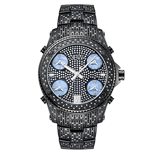 - JBW Luxury Men's Jet Setter 2.34 Carat Diamond Wrist Watch with Stainless Steel Link Bracelet
