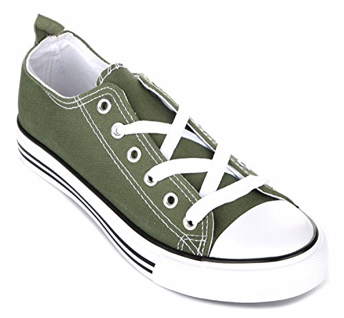 Olive Canvas Footwear - Kids Tie up Slip on Canvas Sneakers with Laces for Children- Girls and Boys (3 Kids, Olive)