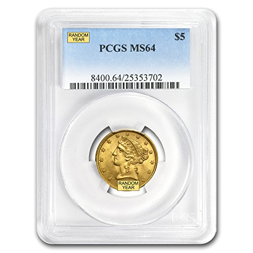 1839 – 1908 $5 Liberty Gold Half Eagle MS-64 PCGS G$5 MS-64 PCGS