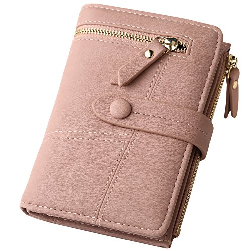 Womens RFID Blocking Pink Leather Organized Wallets Purse Compact Bifold Clutch for - Wallet Compact Clutch