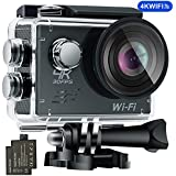 4K WIFI Sports Action Camera, Waterproof 170° Ultra Wide-Angle 2.0 Display 16 MP Camcorder with 2 Pcs Rechargeable Batteries 1050 mah, 25 Accessories Kits by Ejotc