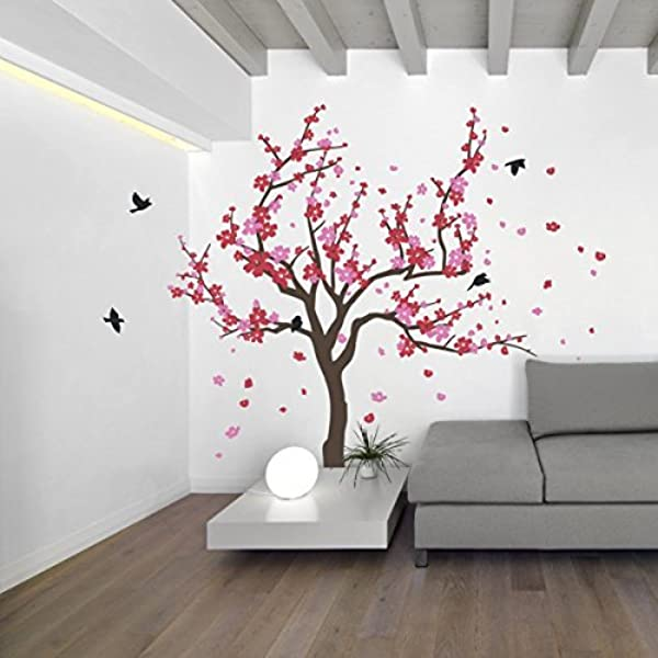 Elma332tuttle Japanese Cherry Blossom Tree And Birds Wall Decal Sticker For Flower Baby Nursery Room Decor Art Red Pink 60x90 Inches Home Kitchen