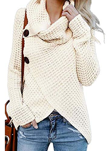 Sweaters for Women Turtleneck Winter Warm Casual Pullover Wrap Chunky Cable Knit Maternity Sweater White M