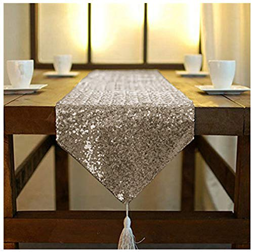 ShinyBeauty Chocolate 12x84 Inch Sequin Dresser Scarves or Table Runner with Tassel for Elegant Event,Party Wedding