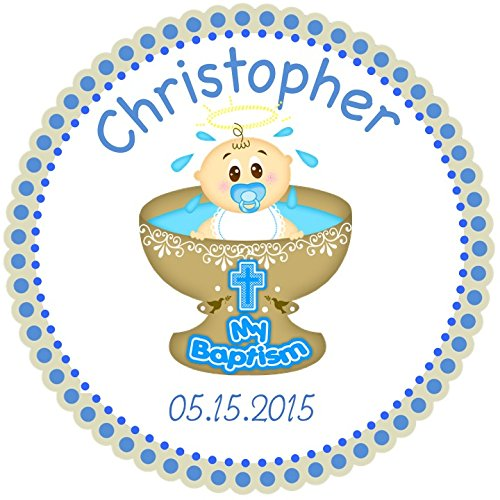 40 round labels 2 mi bautizo personalized stickers baptism christening custom hang tags