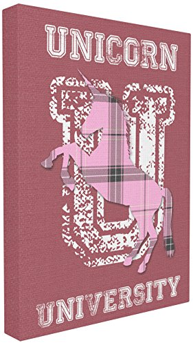 (The Kids Room by Stupell Unicorn University Pink Plaid Stretched Canvas Wall Art, Proudly Made in USA)