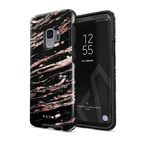 568 Rose - BURGA Phone Case Compatible with Samsung Galaxy S9 Case Rich Rose Gold and Black Marble Heavy Duty Shockproof Dual Layer Hard Shell + Silicone Protective Cover