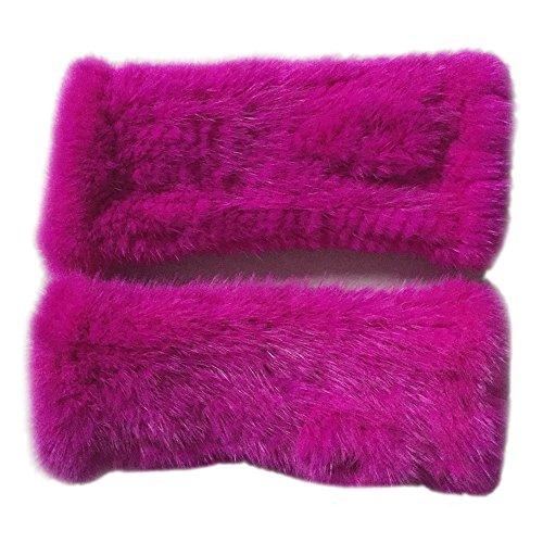 Women's Hand Knitted Real Mink Fur Fingerless Gloves Winter Warm Gloves - Fur Story (20cm, rose)