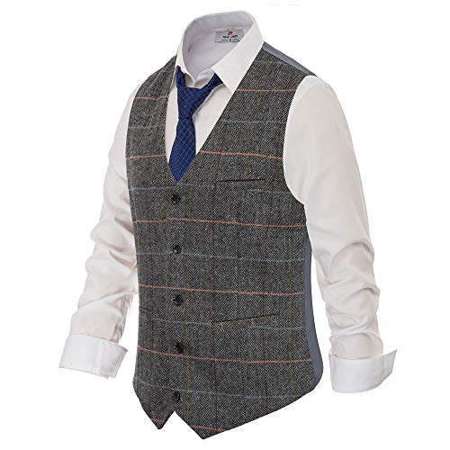 Men's Western Herringbone Tweed Suit Vest Wool Blend Slim Fit Waistcoat