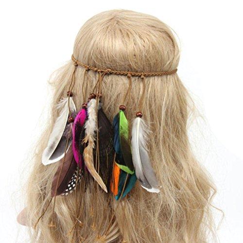 Women Headband,Caopixx Boho Feather Hand Woven Peacock Feather Hair Bands Headband Beach Headwear (White)