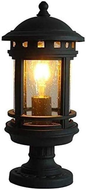 LGOO1 Outdoor Die-cast Aluminum Column Lamp Traditional Antique Waterproof Pedestal Lantern Garden Villa Waterproof Pillar Light Fence Gate Path Patio Streetlight (Color : B)