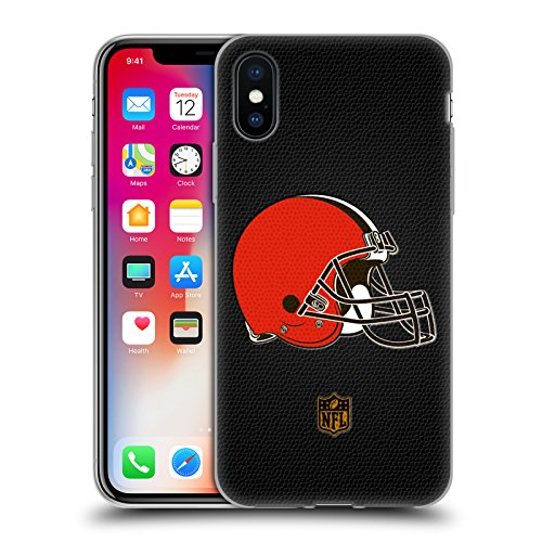 Cleveland Browns Soft Football - Official NFL Football Cleveland Browns Logo Soft Gel Case for Apple iPhone X