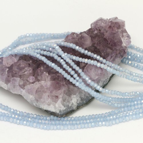 Crystal Chinese Round Glass Beads (100 pcs 3x2mm Chinese Crystal Glass Beads Faceted Rondelle Baby Blue Agate AB)
