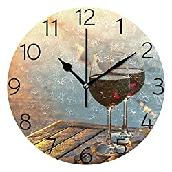 MOYYO Romantic Red Wine at Beach Sunset Wall Clock 9.8 Inch Silent Round Wall Clock Battery Operated Non Ticking Creative Decorative Clock for Kids Living Room Bedroom Office Kitchen Home Decor
