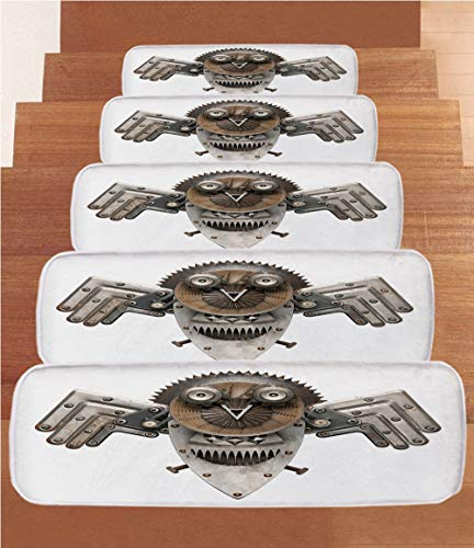 iPrint Non-Slip Carpets Stair Treads,Industrial,Stylized Collage with Owl Figure Cog Hardware Gear Machinery Animal Print Decorative,Grey White Brown,(Set of 5) 8.6''x27.5'' by iPrint