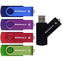 SIMMAX 5Pcs 8GB Usb Flash Drive Usb 2.0 Flash Drive Memory Stick Fold Storage Thumb Stick Pen Swivel Design (Mix Color1)