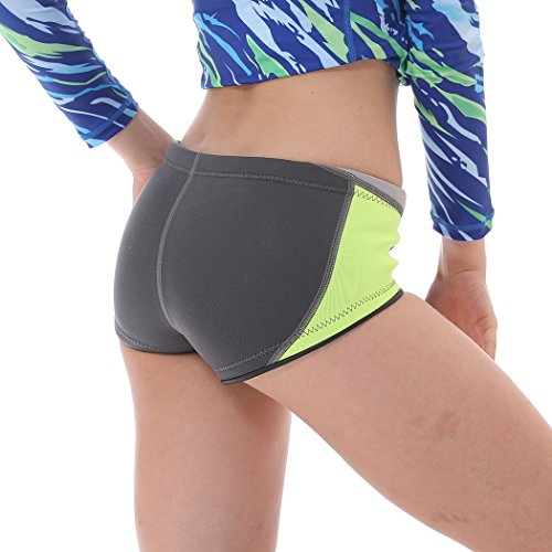 Neoprene Shorts - Swim Pants for Women Wetsuit Pants Dive Shorts Water Pants Surfing Snorkeling Floating Swimming Water Aerobics Scuba Diving Kayaking (Green-Low Cut, L)