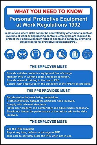 "NNBT Personal Protective Equipment Regs PPE Poster Sign for Outdoor & Indoor 12"" x 8"""