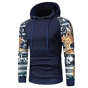Gillberry Mens T Shirt, Men's Camouflage Long Sleeve Print Hooded Tops Jacket Coat Outwear (Navy, (US) XL=Asian XXL)