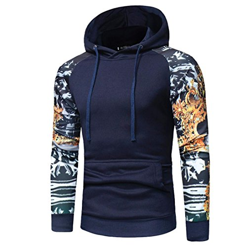 Gillberry Mens T Shirt, Men's Camouflage Long Sleeve Print Hooded Tops Jacket Coat Outwear (Navy, (US) XL=Asian - Sunglasses Prescription Snowboarding