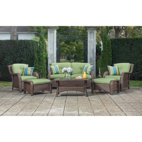 La z boy outdoor sawyer 6 piece resin wicker patio for Resin wicker patio furniture