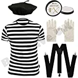 Childrens Kids Mime Artist French T Shirt, Beret Hat, Braces, Paint & Gloves Fancy Dress Costume (10-12 years)
