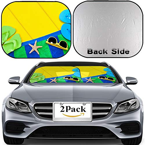 MSD Car Windshield Sun Shade, Universal Fit 2-Piece Foldable Car Sunshade, Block Sun Glare, UV and Heat, Sun Visor,A Beach Towel flip Flops and Sunglasses on a Colorful Yellow Wooden ()
