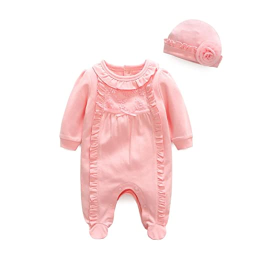 cc8e61eaa5d7 Anxinke Newborn Baby Girls Soft Cute Jumpsuit Long Sleeve Cotton Rompers  With Hat For 3-