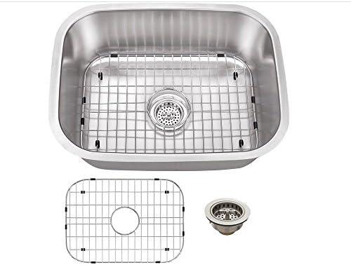 Schon SCSBL18 Undermount 18-Gauge Single Bowl Sink 23 7 16-Inch by 17 3 4-Inch, Stainless Steel