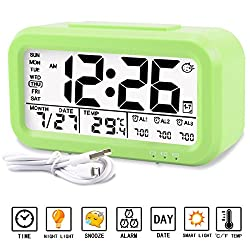 Alarm clock, Aitey Digital Alarm Clock for kids, Time/Date/Temperature Display, Snooze Function, 3 Alarms, Optional Weekday Mode, USB Charging (Green)