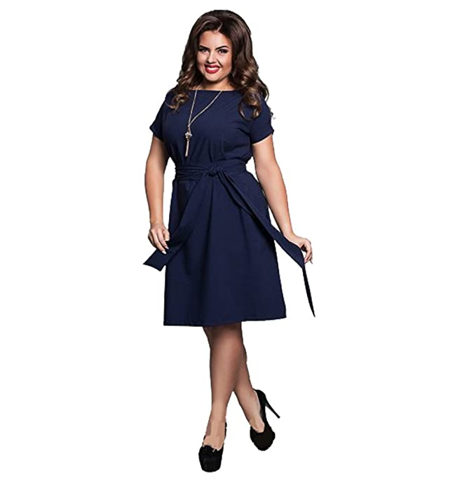 5XL 6XL Office Dress Blue Red Dresses Plus Size Women Clothing With Belt Vestidos Dark Blue