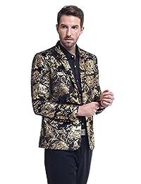 Cloudstyle Saco tipo blazer para hombre con estampado floral, solapa con muescas, ajustado