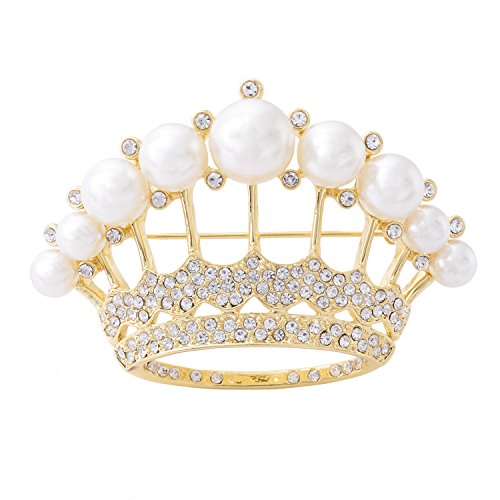 OBONNIE Large Gold Tone Crystal Queen Crown Pin Brooch With Pearl Wedding Bridal Pin (Pale Gold)