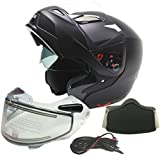 Typhoon Dual Visor Modular Full Face Snowmobile Helmet With Heated Shield, Breath Box (Matte Black, XXL)