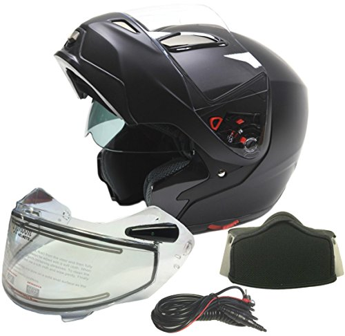 Modular Dual Visor Snowmobile Helmet w/ Electric Heated Shield - Matte Black ( XXL ) Electric Snowmobile Shield