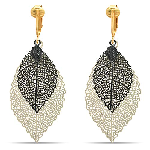 (Aloha Earrings Lovely Victorian Filigree Clip On Earrings for Women & Clip-ons, Lightweight Teardrop Leaf Dangle (Cream/Black Leaves))