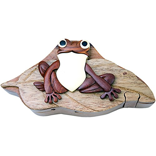 Frog on Lily Pad - Wood Puzzle Box - Handcrafted with Hidden ()