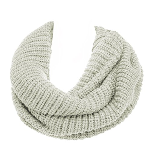 (DG Hill Winter Scarf For Women Warm Lightweight Infinity Scarf Wrap, Cute Soft & Warm Knit Scarves For Ladies & Teen Girls, Shawl Or Cowl Style, Holiday Or Christmas Gift,Cream,One Size)
