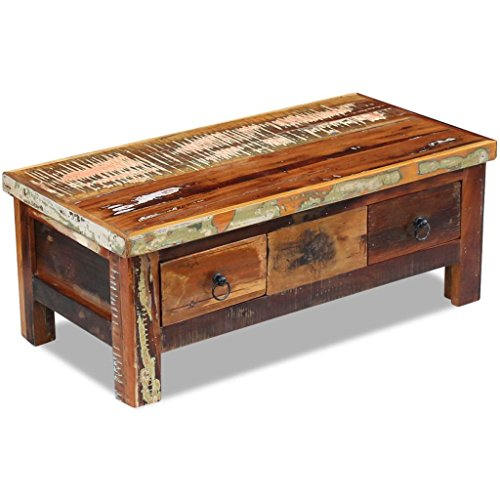 Festnight Rustic Coffee Table with 2 Drawers Reclaimed Wood Tea End Side Table Storage Cabinet Box Pure Handmade for Home Office Living Room Furniture (With Table Wooden Coffee Drawers)