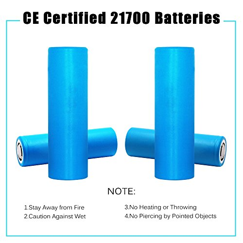 21700 Battery, DOCA 4000mAh High Drain Li-ion Rechargeable Batteries 3.7V IMR Protected Flat Top 21700 Battery by DOCA (Image #5)