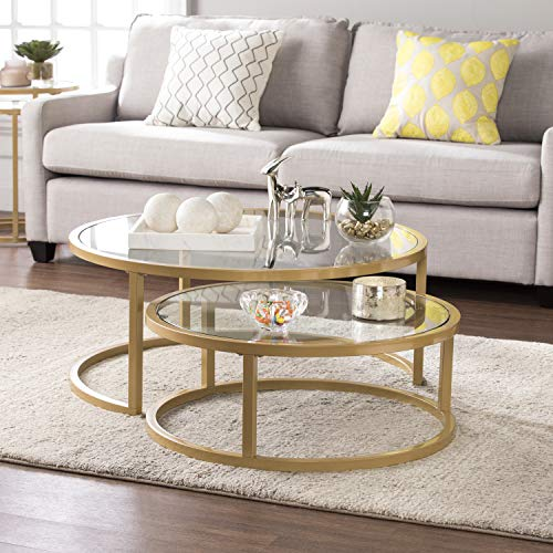 Southern Enterprises Evelyn Glam Nesting Cocktail Table, gold (Nesting Table Round Coffee)