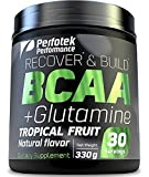 4 Pack Perfotek Performance BCAA + GLUTAMINE Amino Acids Powder - Tropical Fruit Natural Protein Mix Drink for Muscles - 30 servings