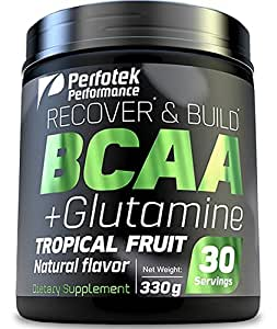 2 Pack Perfotek USA BCAA + GLUTAMINE Amino Acids Powder - Tropical Fruit Natural Protein Mix Drink for Muscles - 30 servings