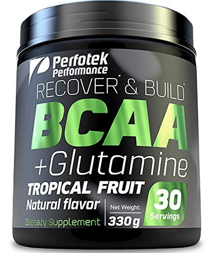 4 Pack Perfotek Performance BCAA + GLUTAMINE Amino Acids Powder - Tropical Fruit Natural Protein Mix Drink for Muscles - 30 servings by Perfotek Performance