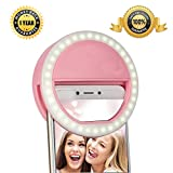 Selfie Lights [Upgraded Version] - Leadpo Selfie Light Ring 3-Level Brightness 36 LED for iPhone Samsung Galaxy Sony - Motorola and Other Smart Phones; Clips on Night Ring Fill Light (Pink-2)