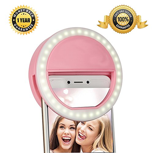 Selfie Lights [Upgraded Version], Leadpo Selfie Light Ring 3-Level Brightness 36 LED for iPhone Samsung Galaxy Sony, Motorola and Other Smart Phones; Clips on Night Ring Fill Light (Pink-2) from KTKT