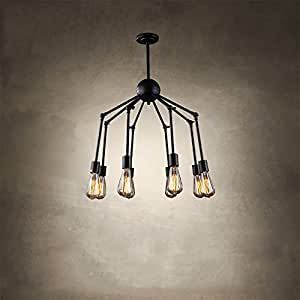 TOYM US Industrial wind Nordic personality design black iron spider chandelier retro creative bar net coffee restaurant loft ceiling ( Color : 8 head )